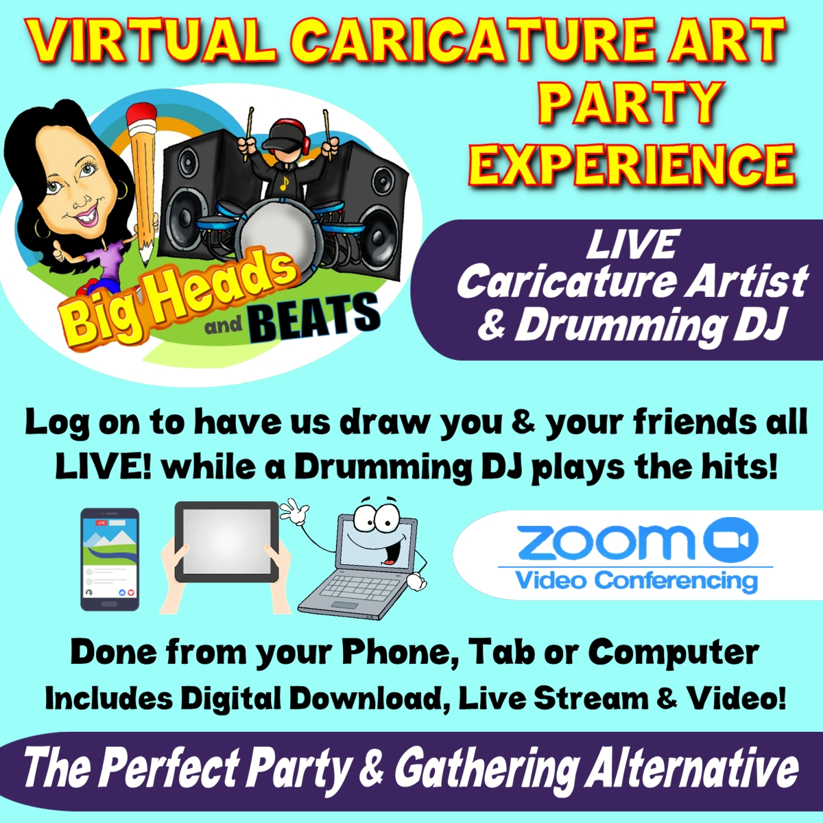 Zoom Caricatures, Virtual Caricatures, Zoom Entertainment, Zoom Caricature Artist, Virtual Meetings, Virtual Entertainment, Zoom Entertainment