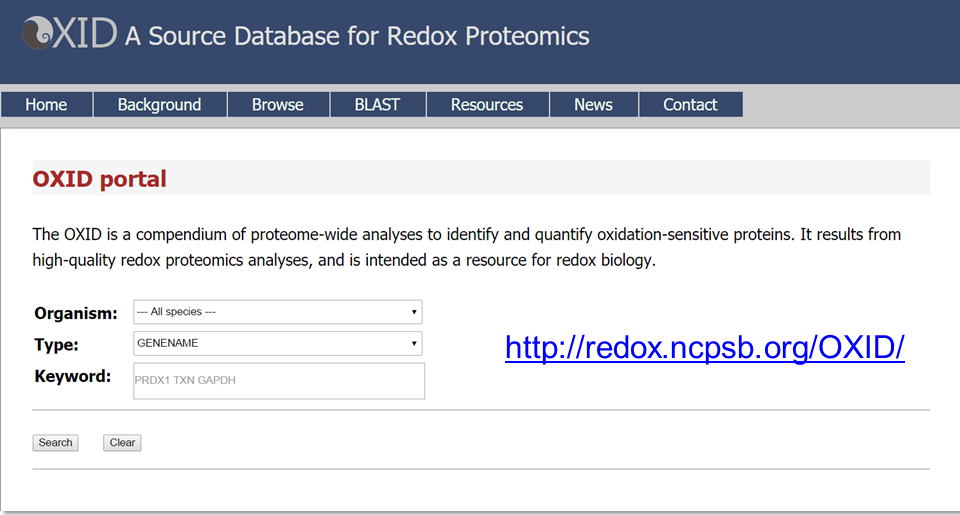A source database for redox proteomics