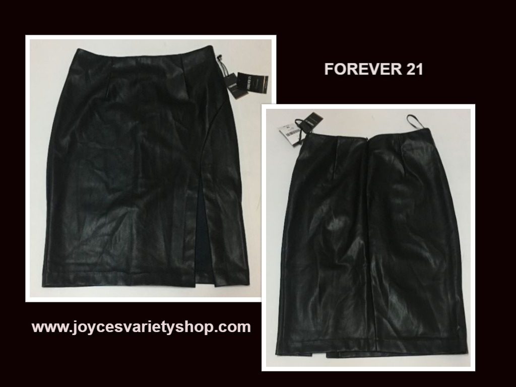 Forever 21 Black Faux Leather Skirt Sz M Contemporary Knee Length