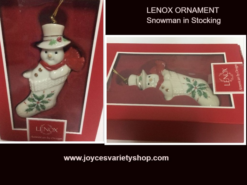 Lenox Santa Snowman In Stocking Ornament