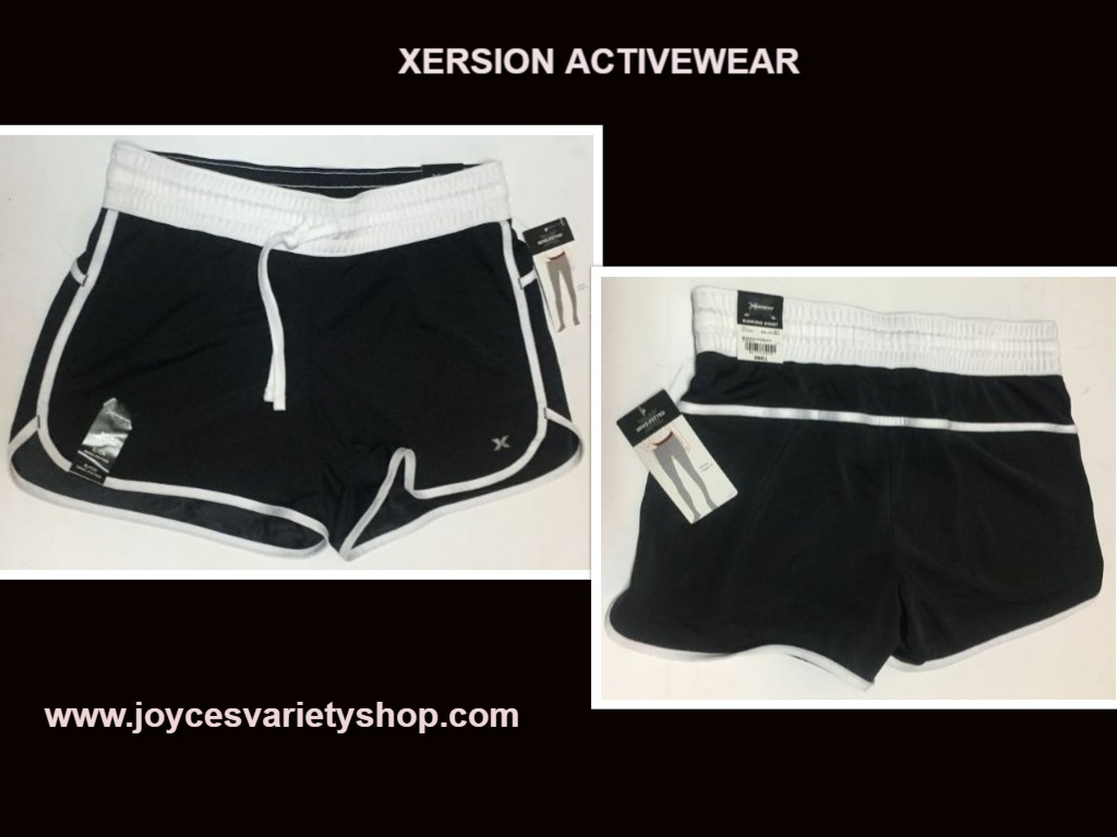 Xersion Black & White Active Running Shorts Sz S