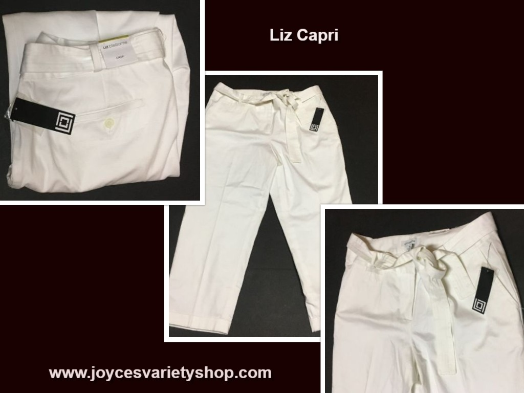 Liz Claiborne White Capri Call of the Tropics Sz 14