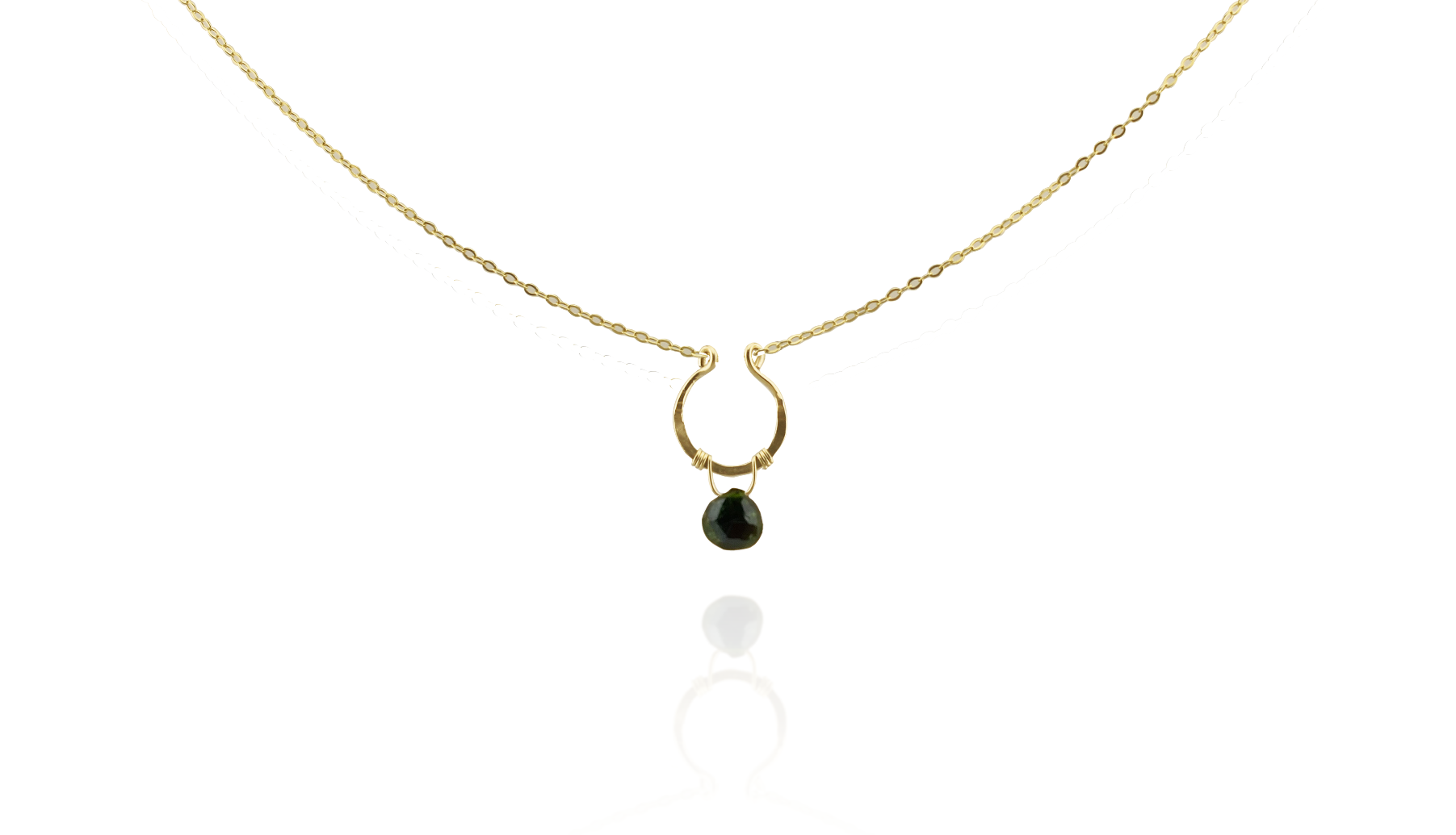 Green Tourmaline U Necklace