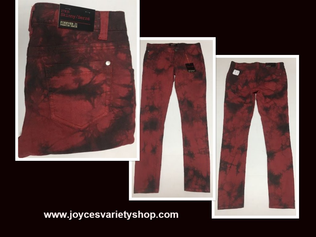 Forever 21 Denim Skinny Jeans Sz 27 x 31 Red & Black Tie Dyed