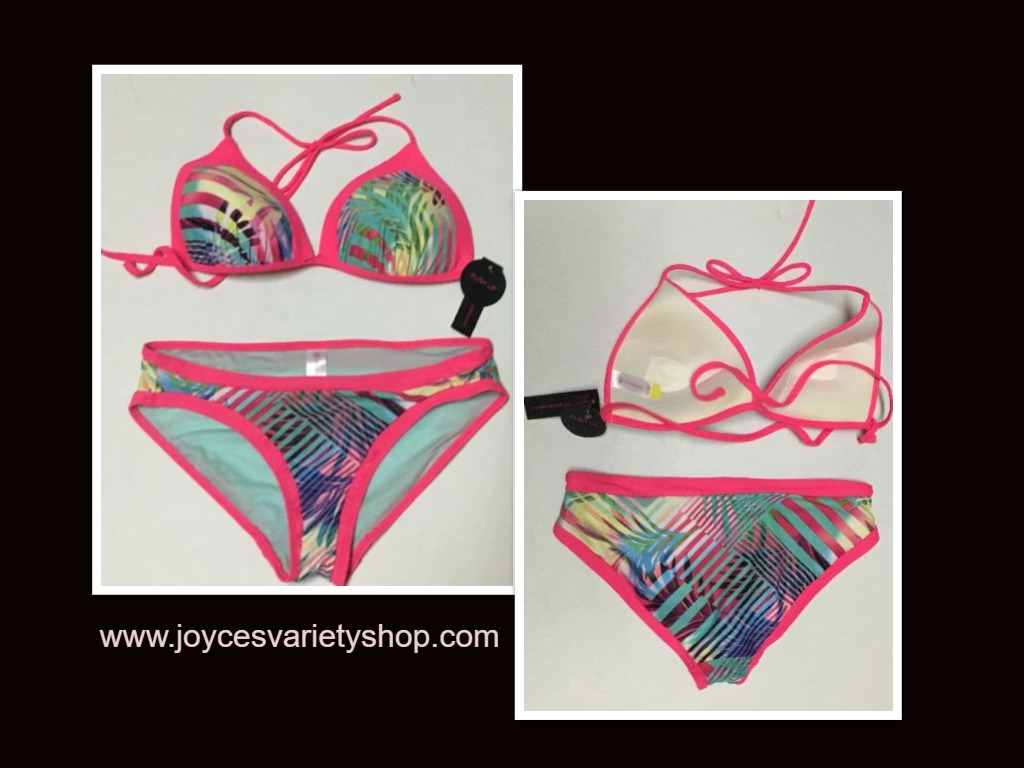 Women's Two Piece Swimwear Swimsuit Push Up Top Sz Lg 11/13, Bottom Sz M (7-8)