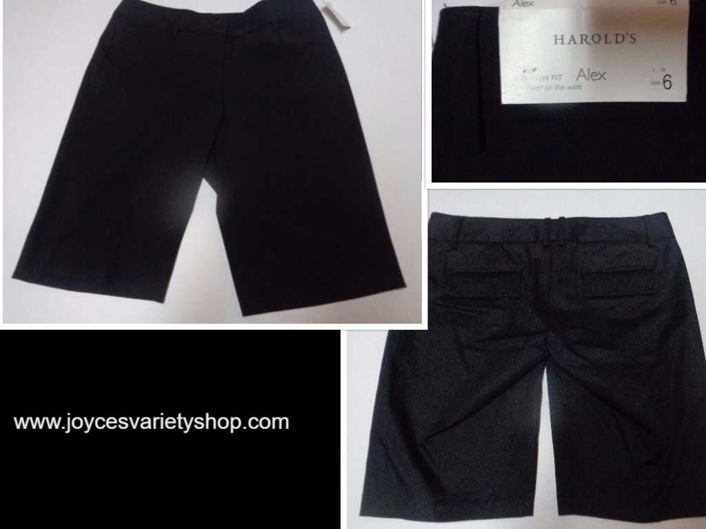 Harold's Alex Shorts Favorite Fit Below Waist NWT Black Women's SZ 6