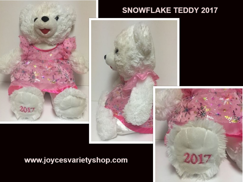 Snowflake Plush Teddy Pink 2017 Holidays 19""