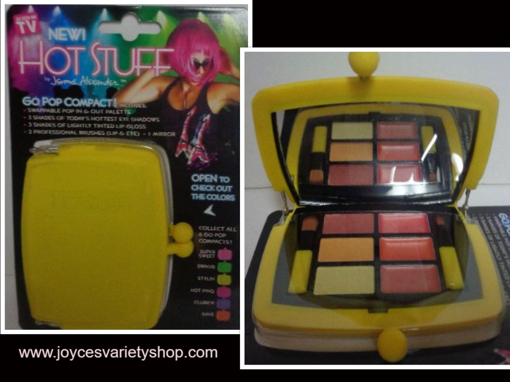 Hot Stuff Eye Shadow Lip Gloss Compact NWT Neon Yellow Case