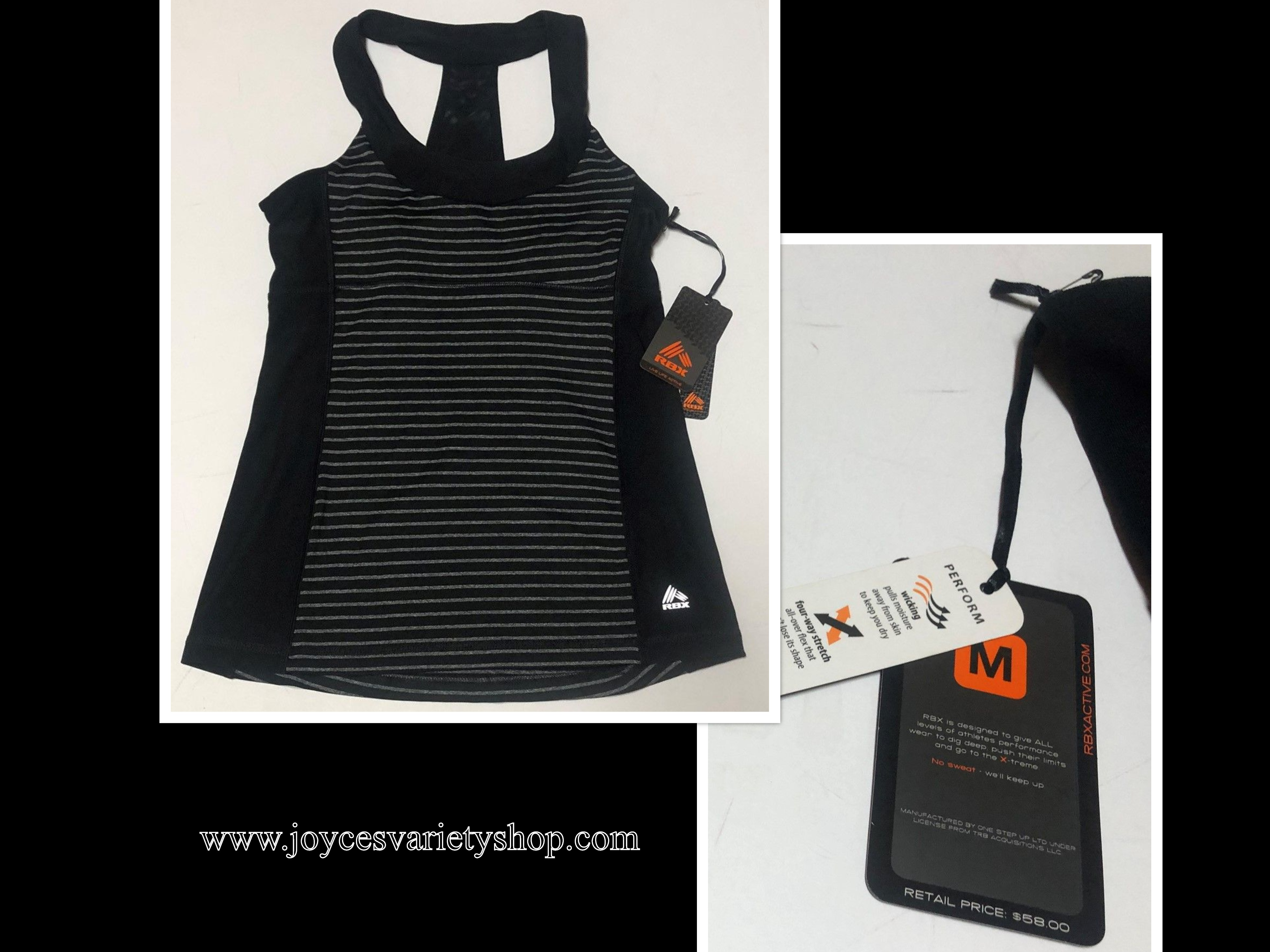 RBX Activewear Top Women's Sz M Black & Gray Striped Racer Back