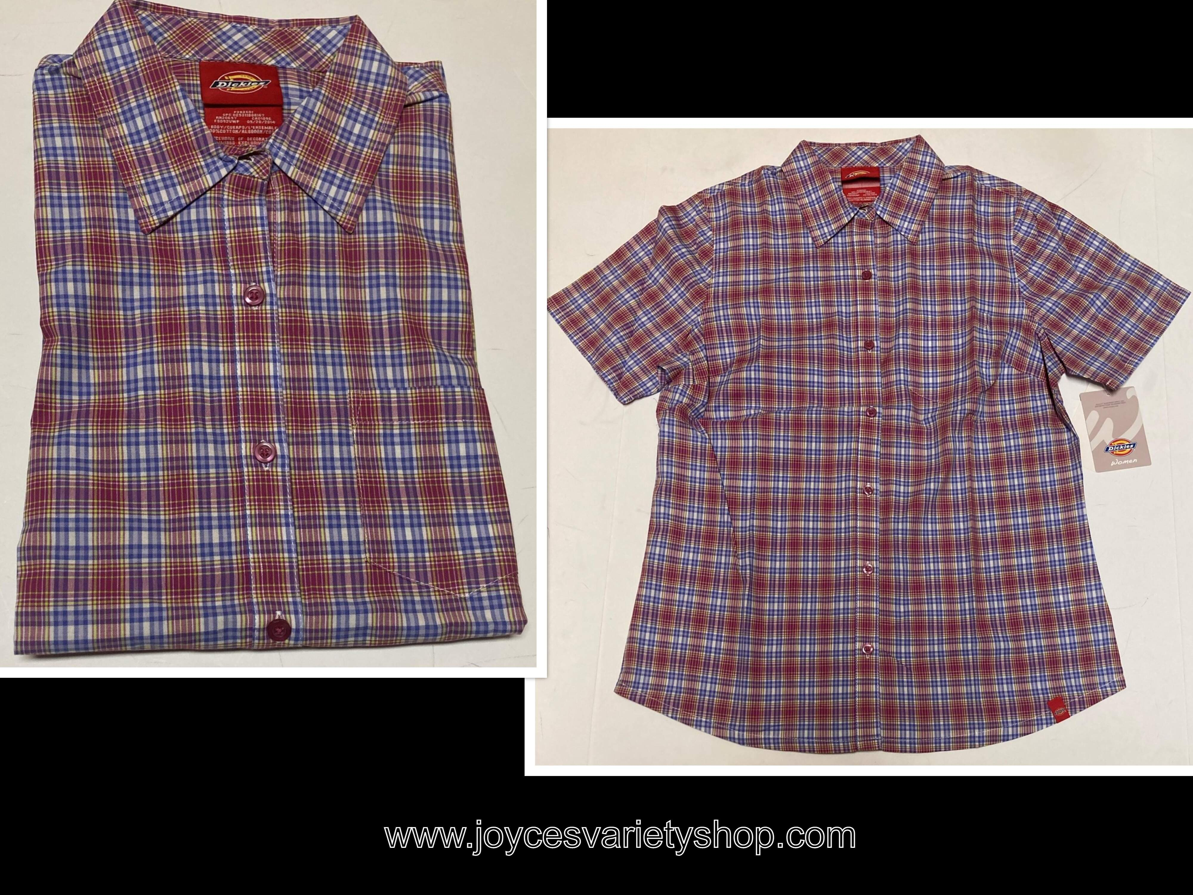 Dickies Women Plaid Shirt Button Down Red & Blue Many Sizes