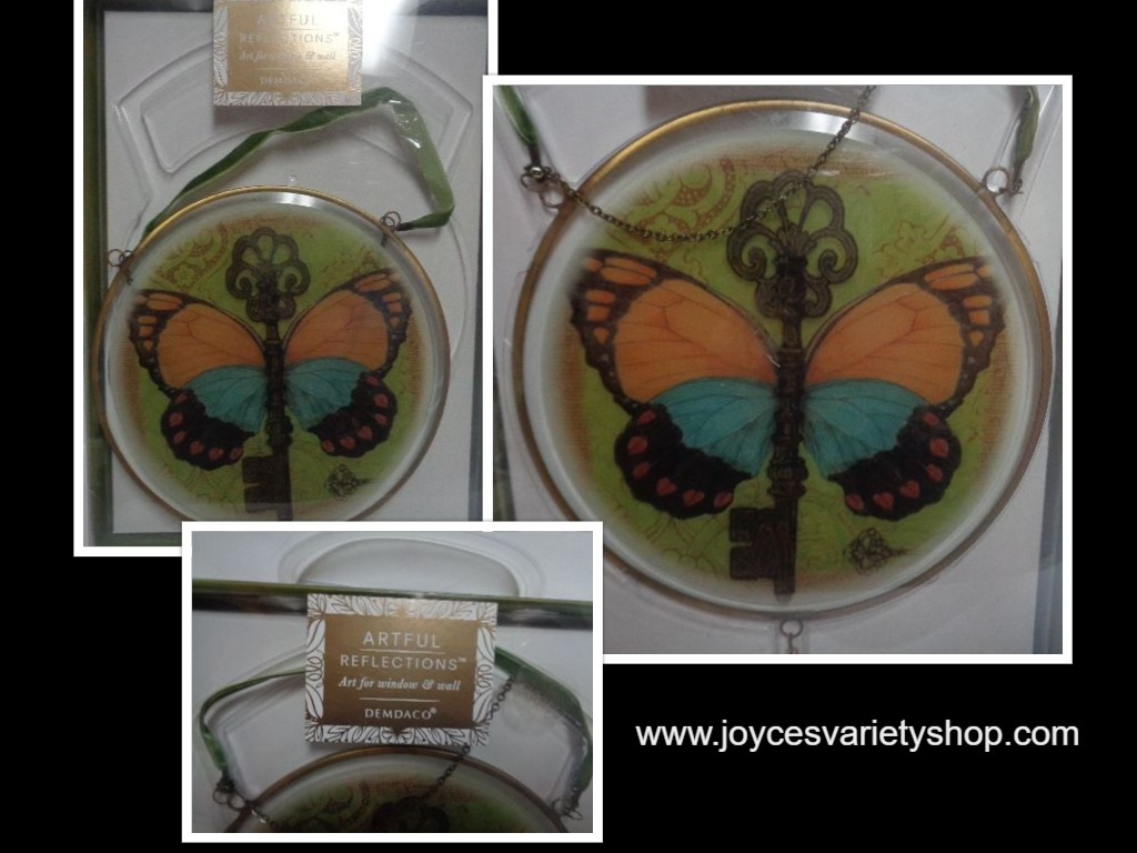 "Butterfly Hanging Window Wall Art NIB 14"" Diameter Artful Reflections Glass"