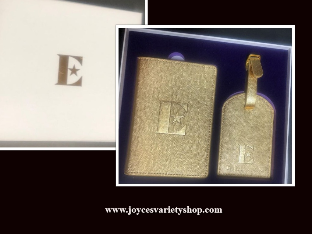 Elton John Gold Passport Holder & Luggage Tag