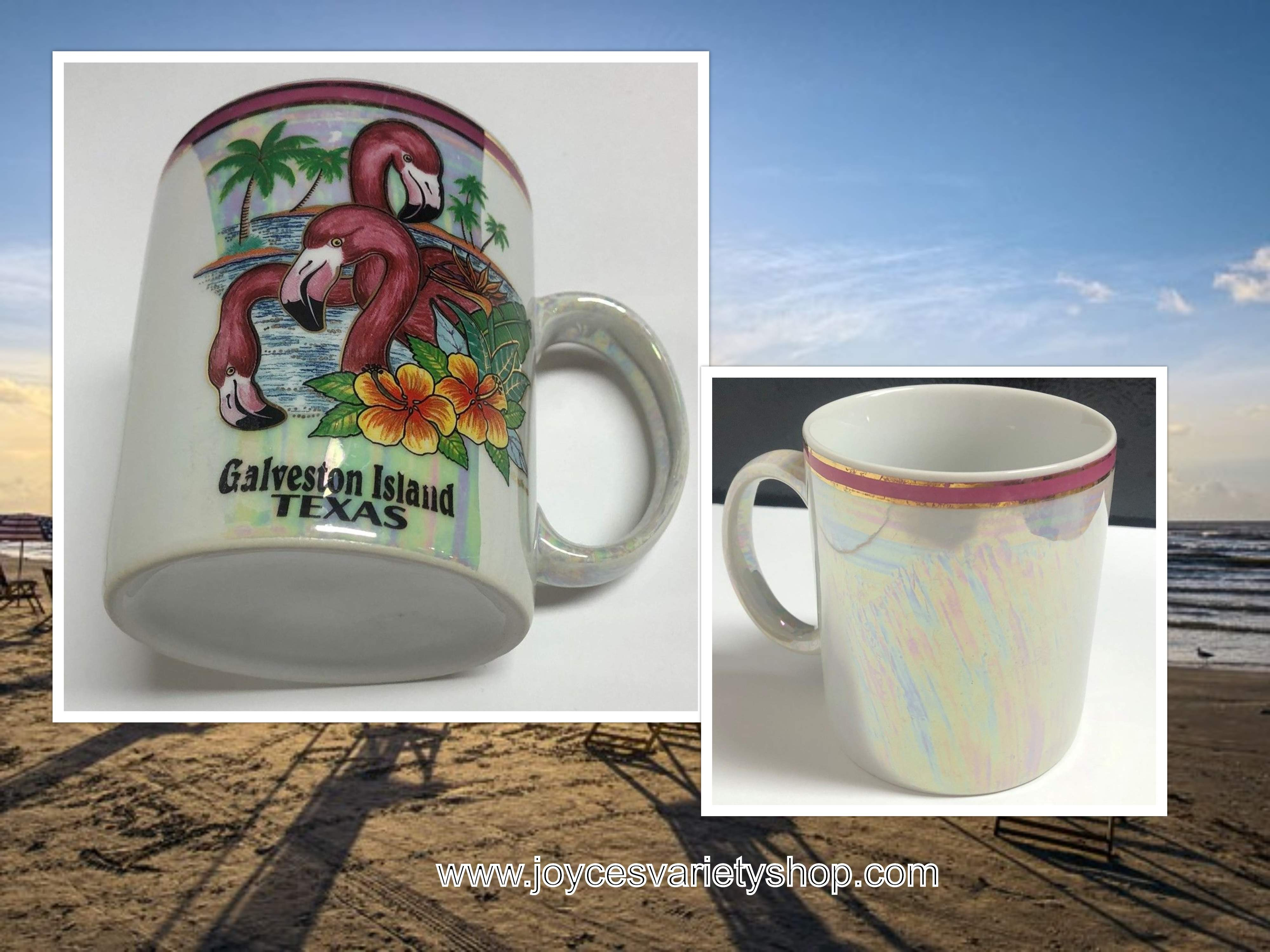 Galveston Island Texas Souvenir Collector Coffee Cup Iridescent Porcelain 6 Oz.
