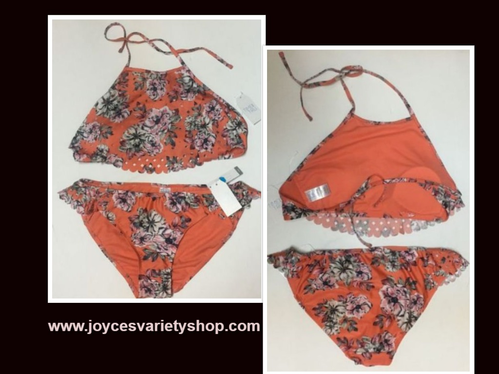 Time & Tru Two Piece Swimsuit Coral Floral Top Sz L (12-14), Bottom Sz M (7-8)