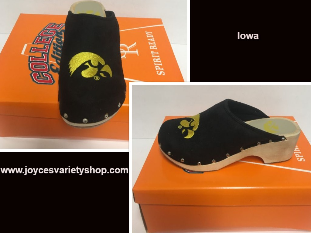 Iowa University Women's Team Shoes Mules Clogs Various Sizes