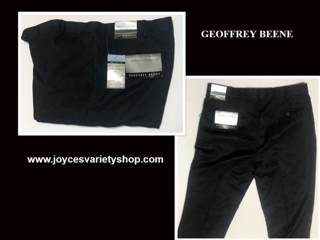 Geoffrey Beene Dress Pants Banker's Collection Black Sz 36 x 32 Wrinkle Resist