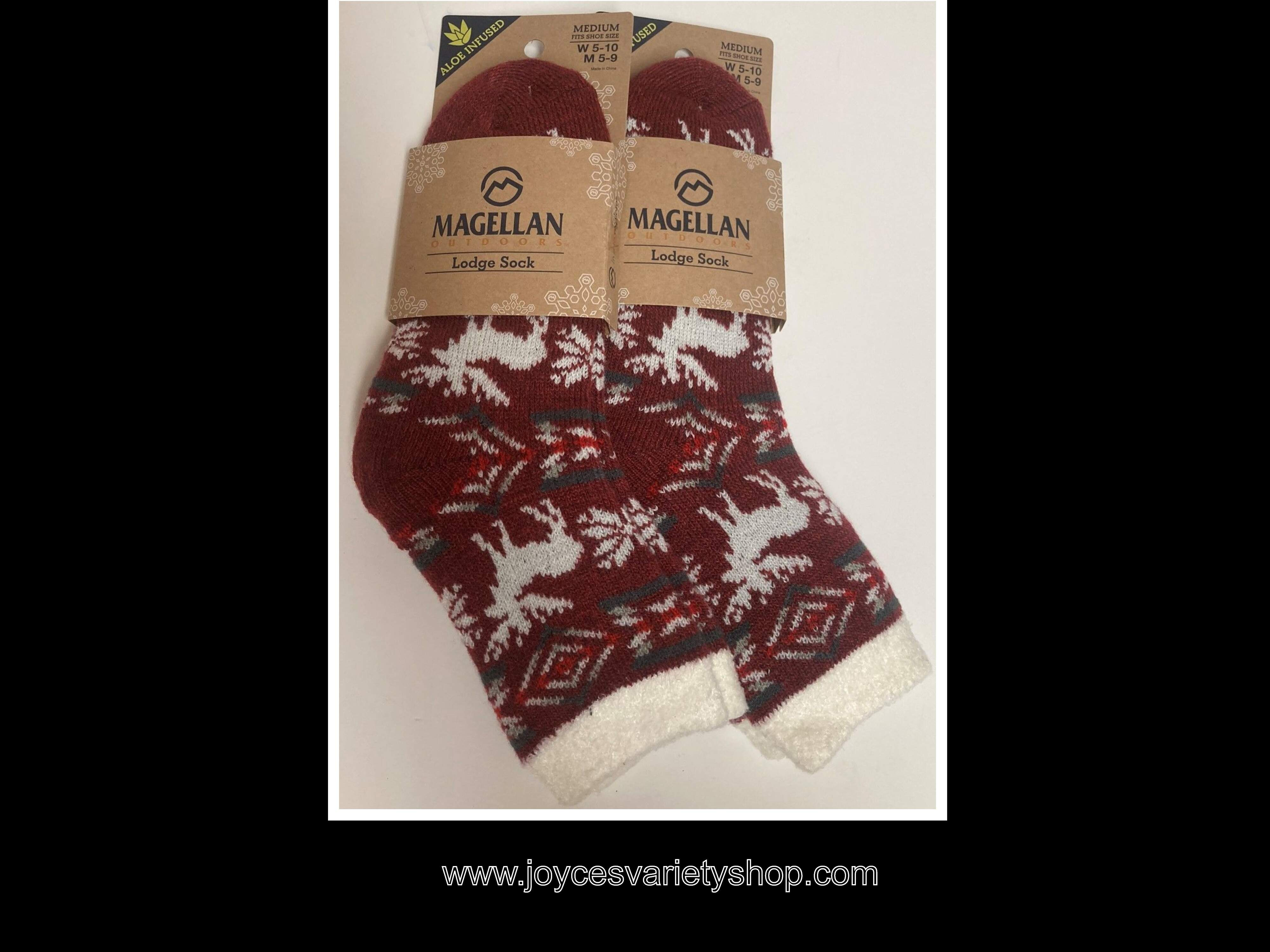 Magellan Outdoor Lodge Socks Two Pair Sz M (Women 5-10) ( Men 5-9)