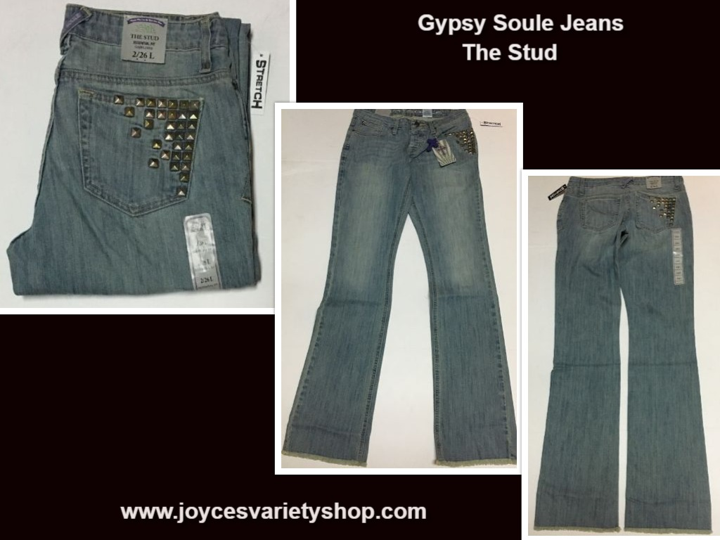 Women's Gypsy Soule Western Jeans The Stud Stretch Sz 28, 30, 34, 36 Waist