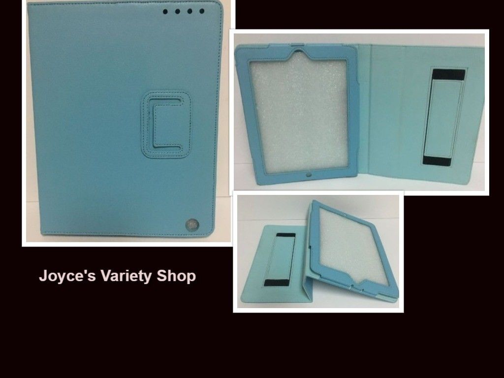 "Tablet Reader iPad Protection Case Baby Blue 9"" x 6"" Screen Faux Leather"