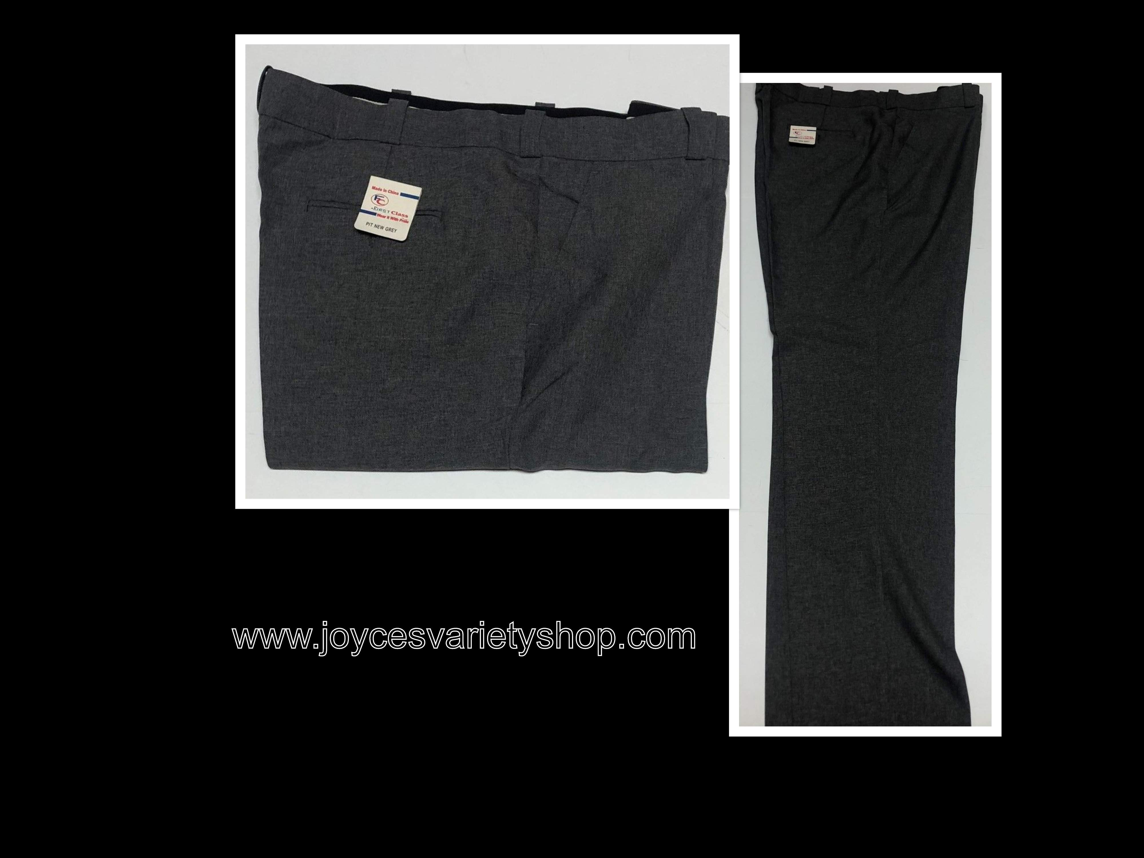 First Class Gray Dress Pants Men's Sz 46 x 36 Regular Flat Front Not Hemmed