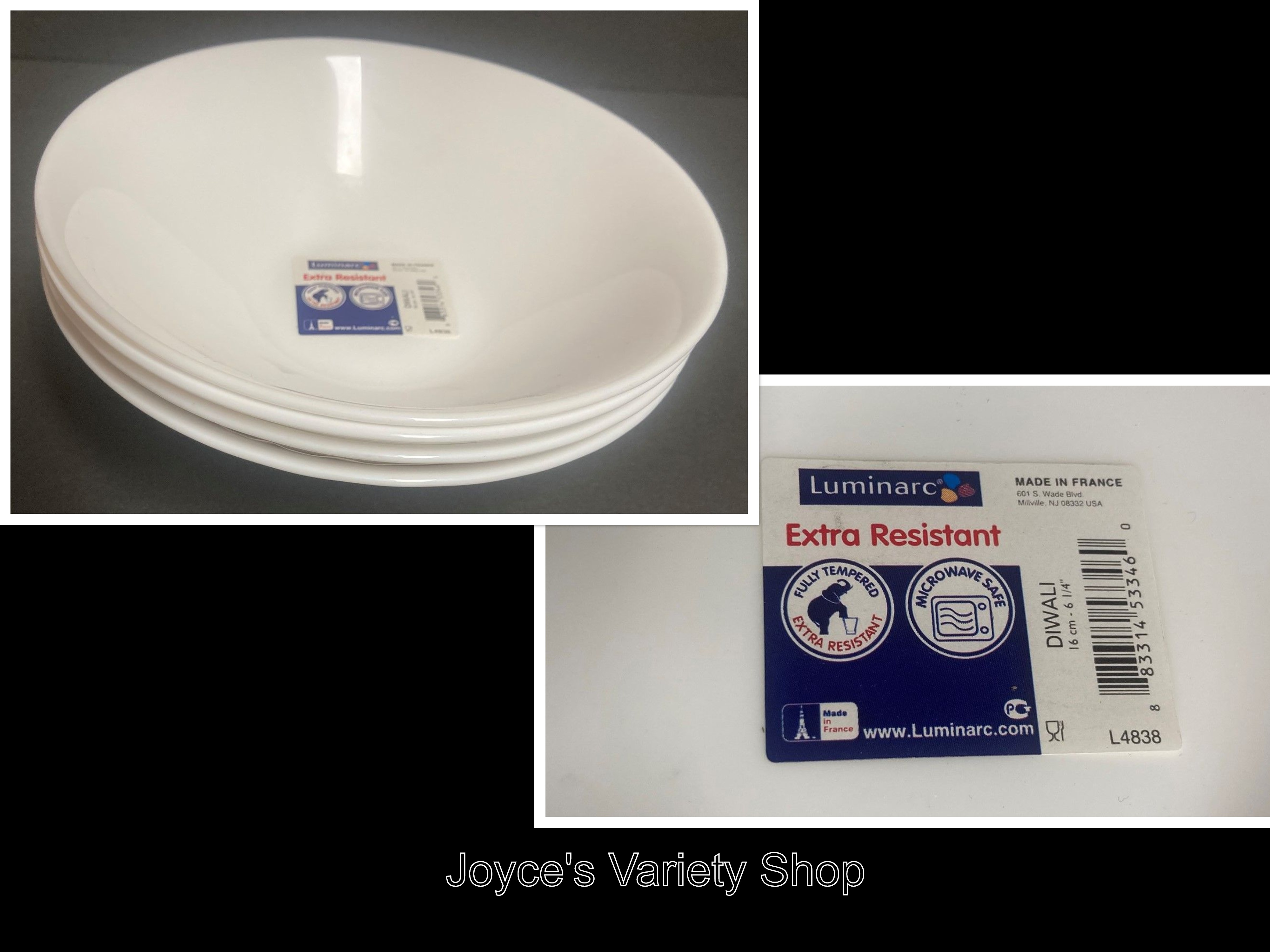 "Luminarc White Salad Bowl Dinnerware 6 1/4"" Extra Resistant Set of 4"