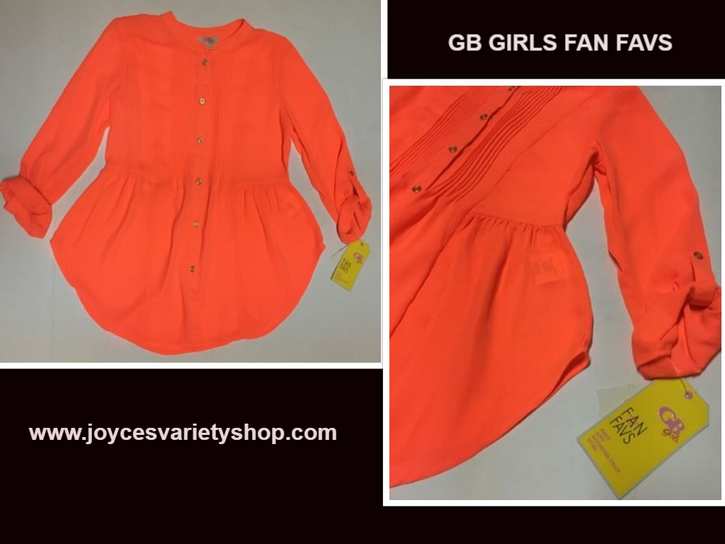 GB Girls Fan Favs Coral Blouse NWT Youth Sz L
