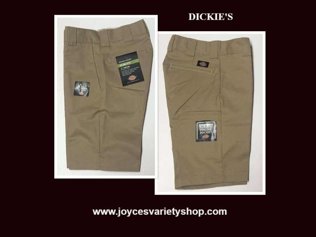 Dickies Boy's Khaki Shorts Slim Fit Stain Release Cell Phone Pocket Sz 26""