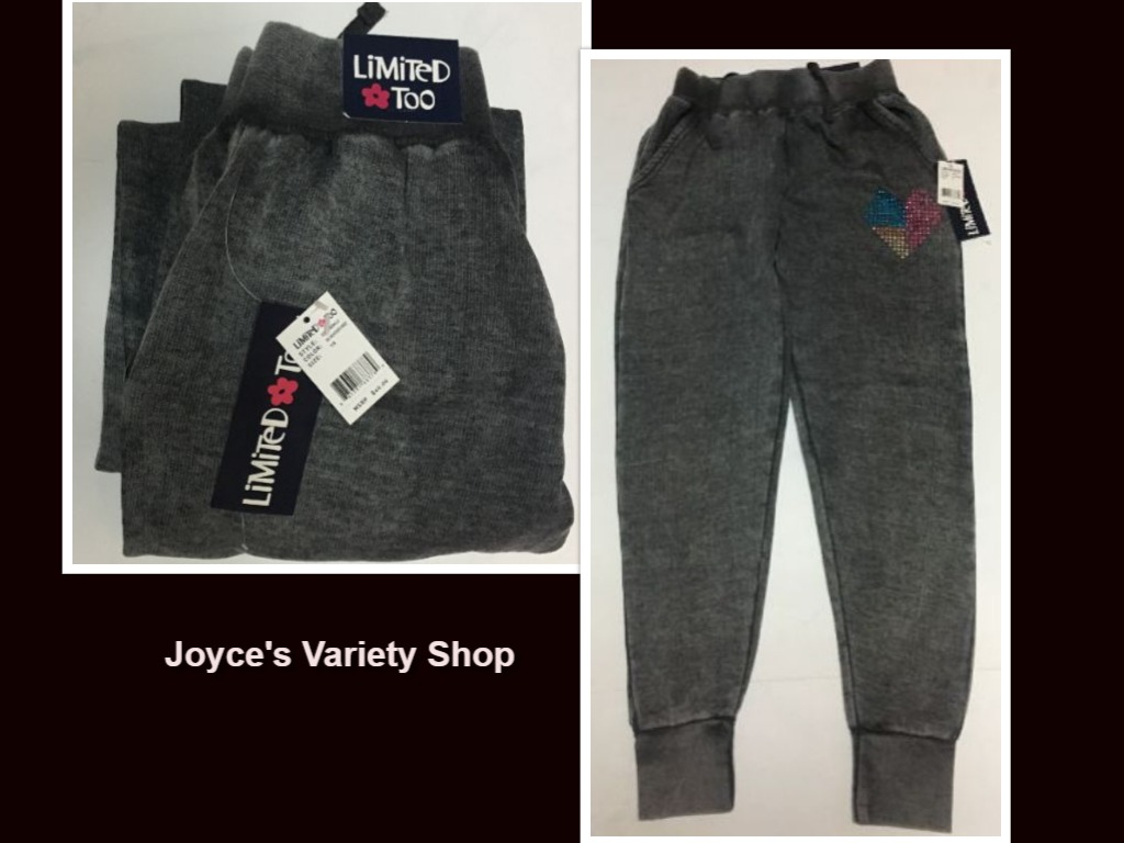 Limited Too Heather Grey Sweatpants Youth Sz 7/8 Embellished Heart