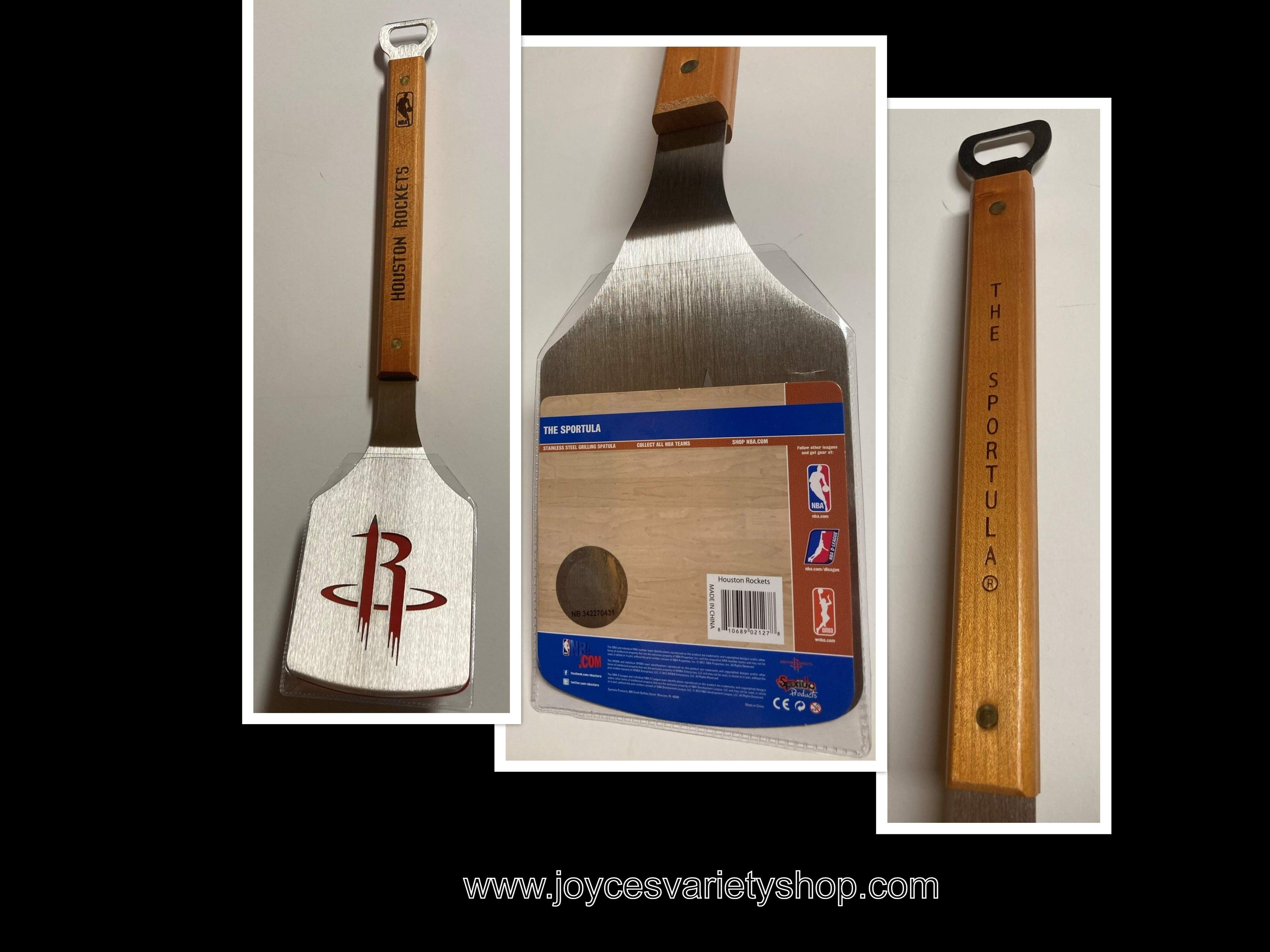 "Houston Rockets NBA BBQ Spatula Bottle Opener THE SPORTULA 19"" Logo"