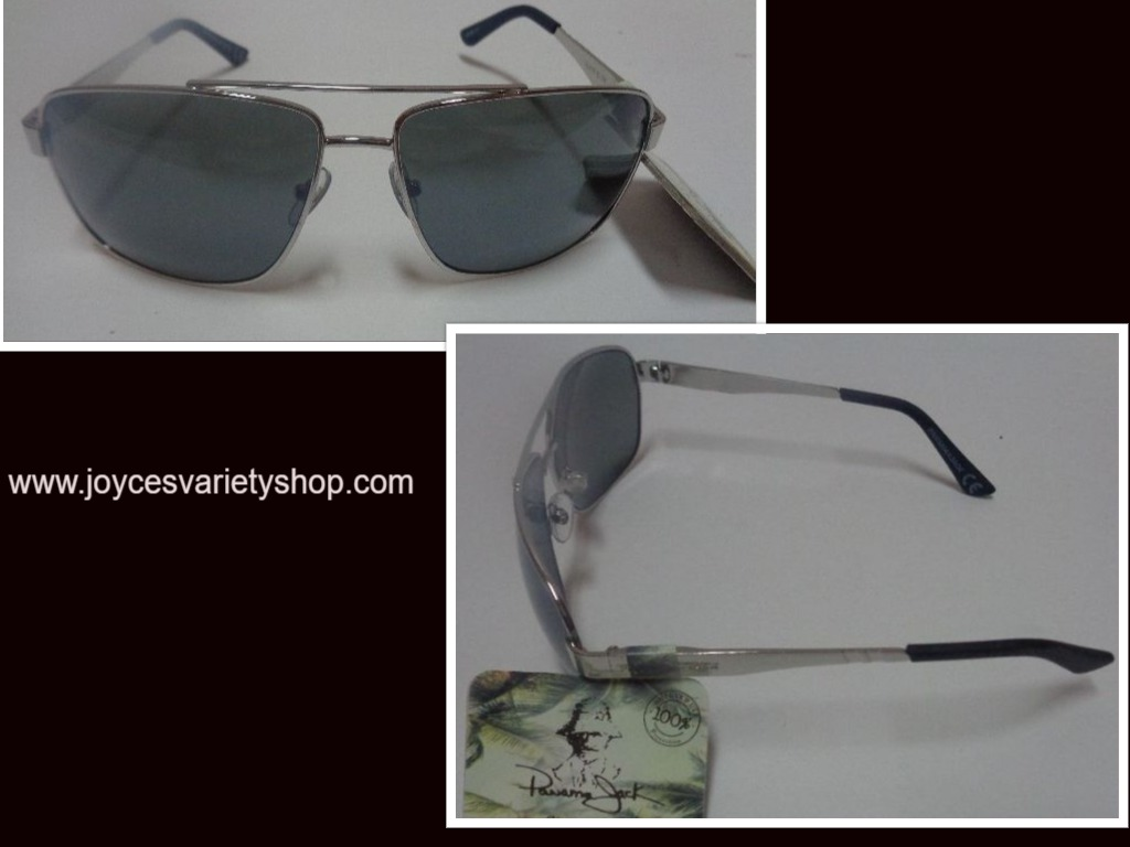 Panama Jack Silver Metal Sunglasses Gray Lens 100% UVA UVB Protection