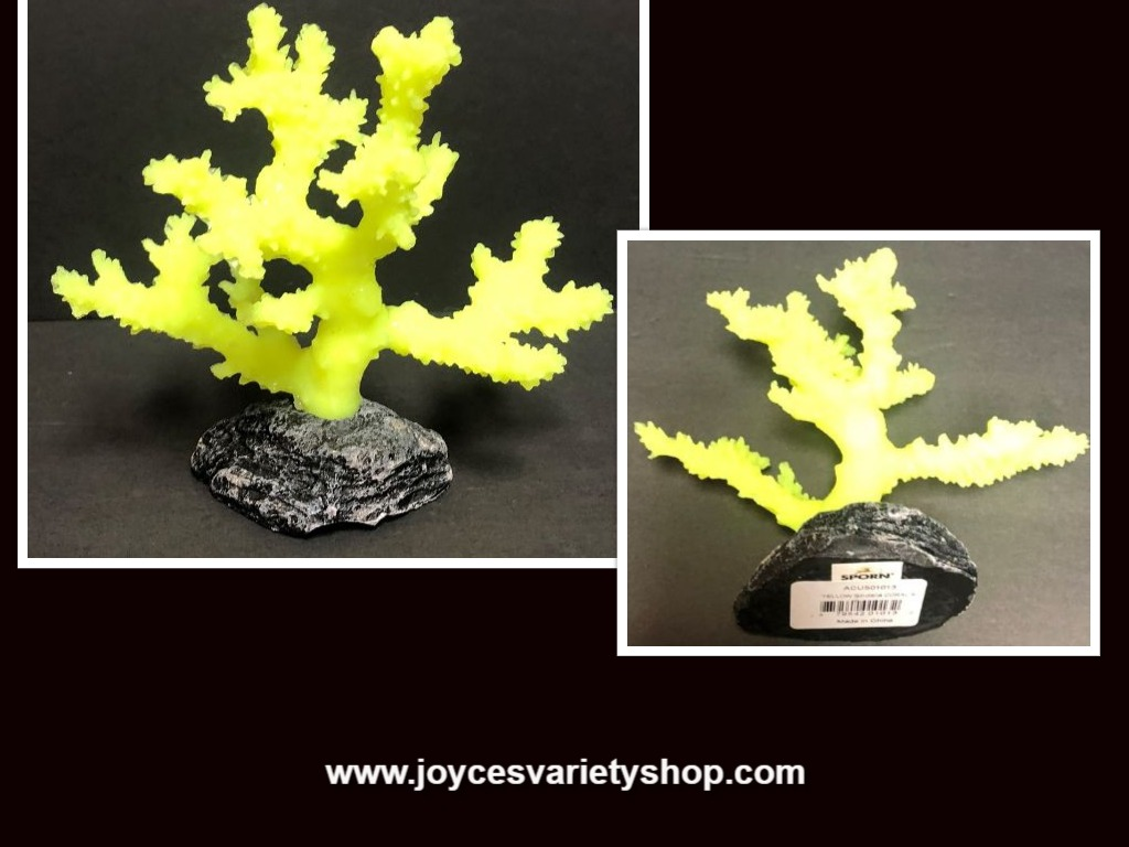 "Sporn Small Yellow Sinularia Coral Aquarium Decor NWT 6"" x 6"""
