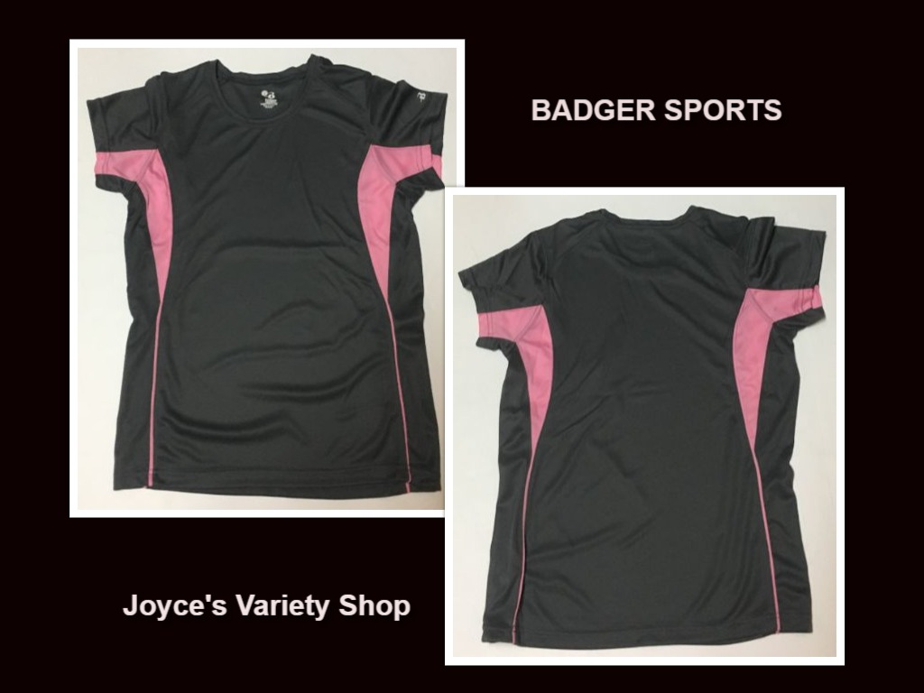 Badger Sports Women's Activewear Shirt Pink & Gray Sz S Moisture Wicking