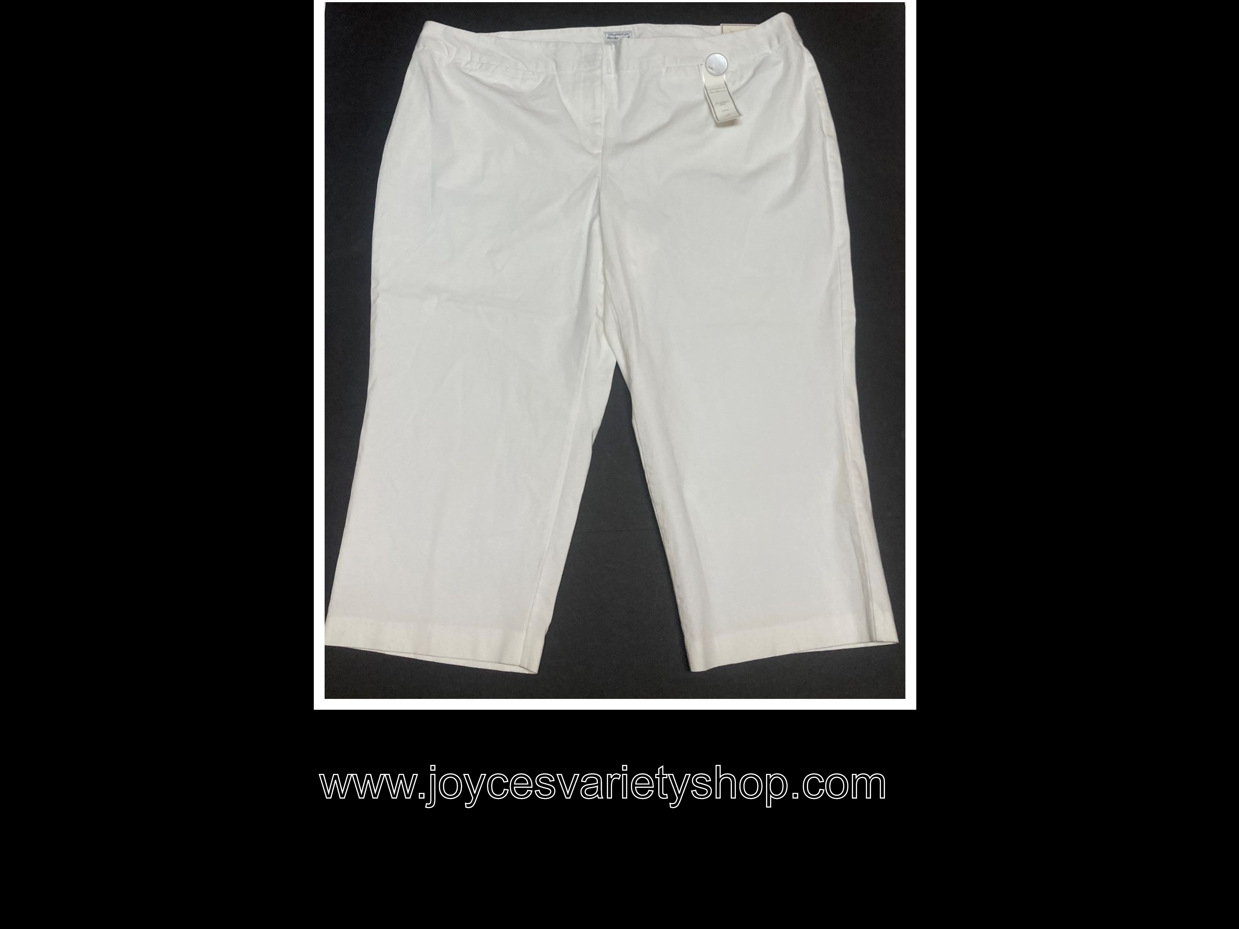 Charter Club Women Capri Classic Fit White Sz 24W Tummy Control