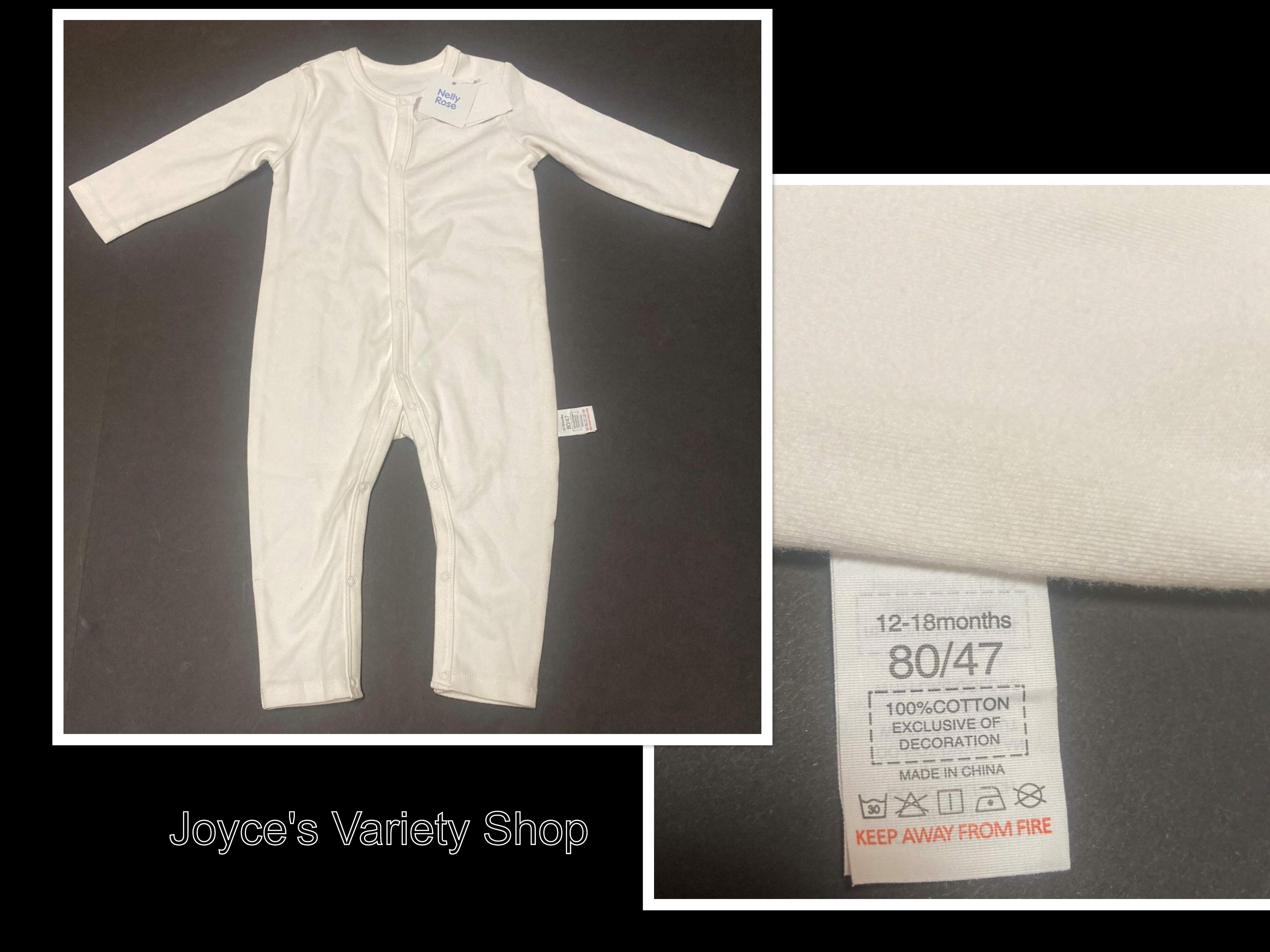 Nelly Rose 100% Cotton One Piece Sleeper Baby 12-18 Months White