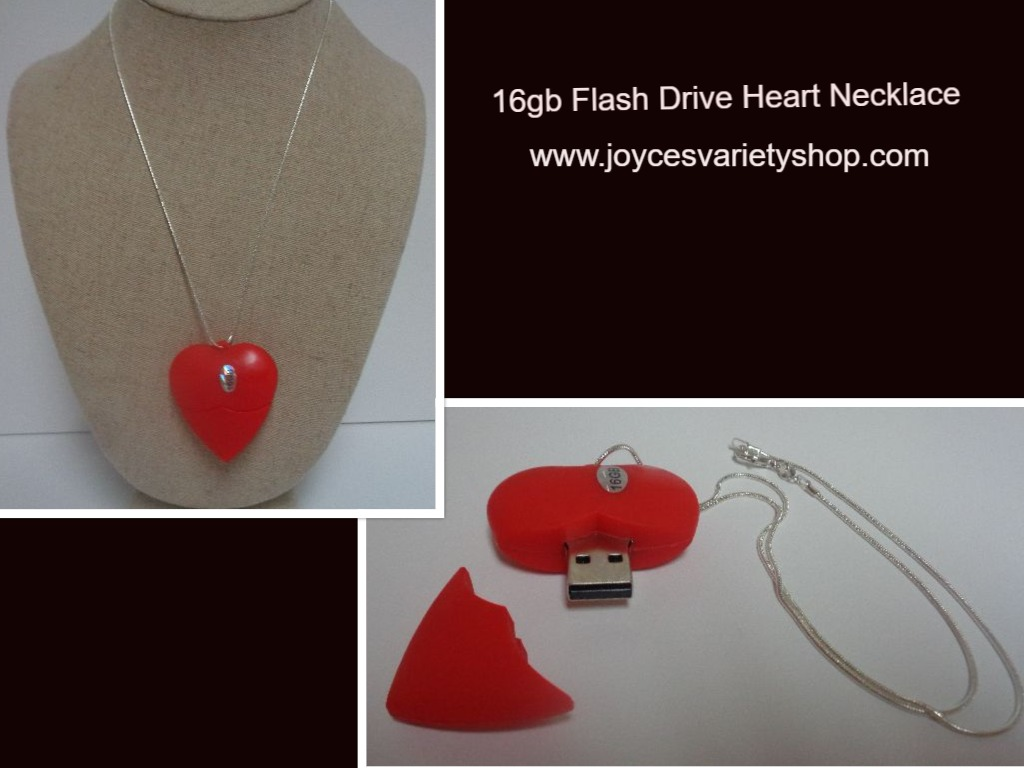 Red Heart 16GB Flash Necklace NIP 925 SS Rope Necklace