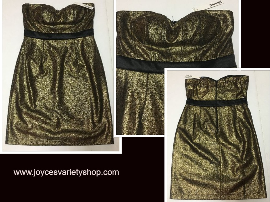 Minuet Gold & Black Halter Mini Dress SZ M