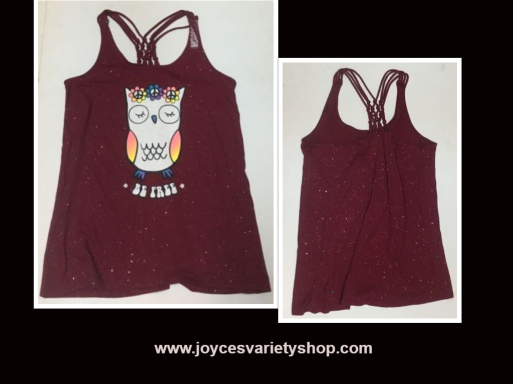 Justice BE FREE Sparkly Tank Top Owl NWT Sz 18 Red