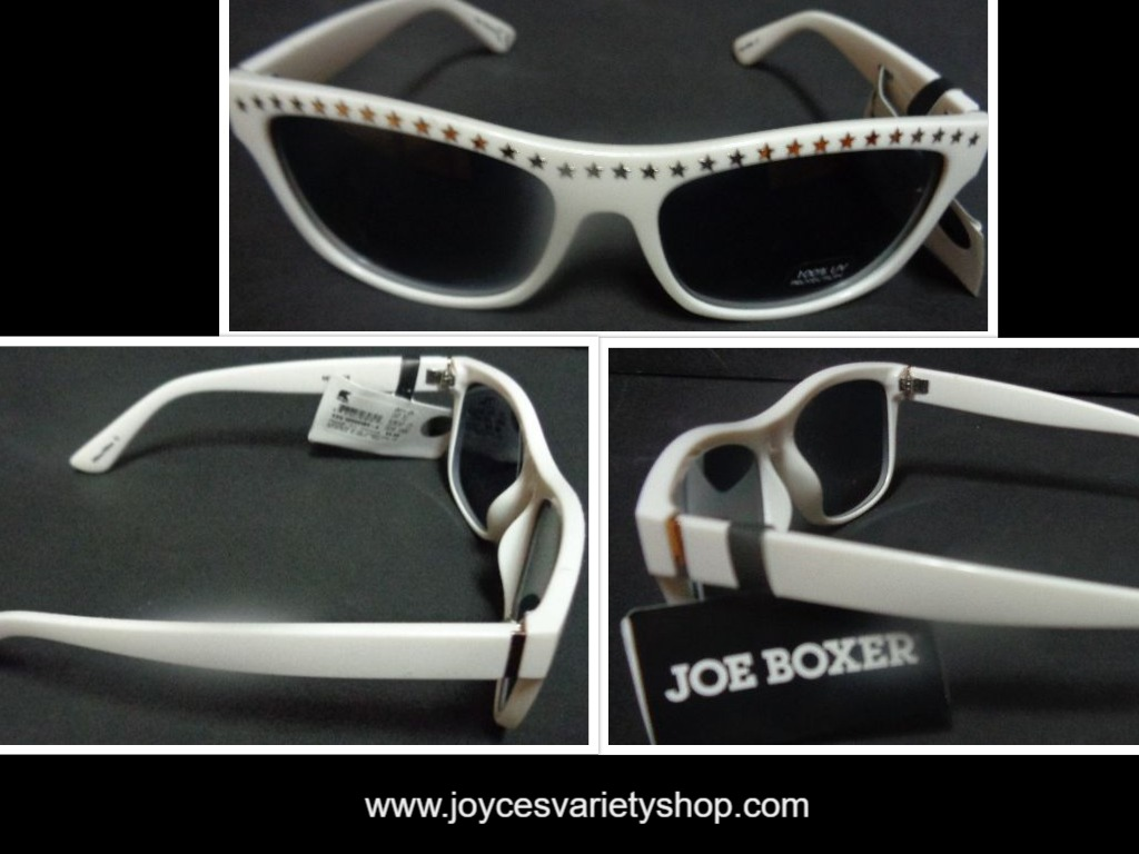 Joe Boxer White Star Studded Sunglasses NWT Free Shipping 100% UV