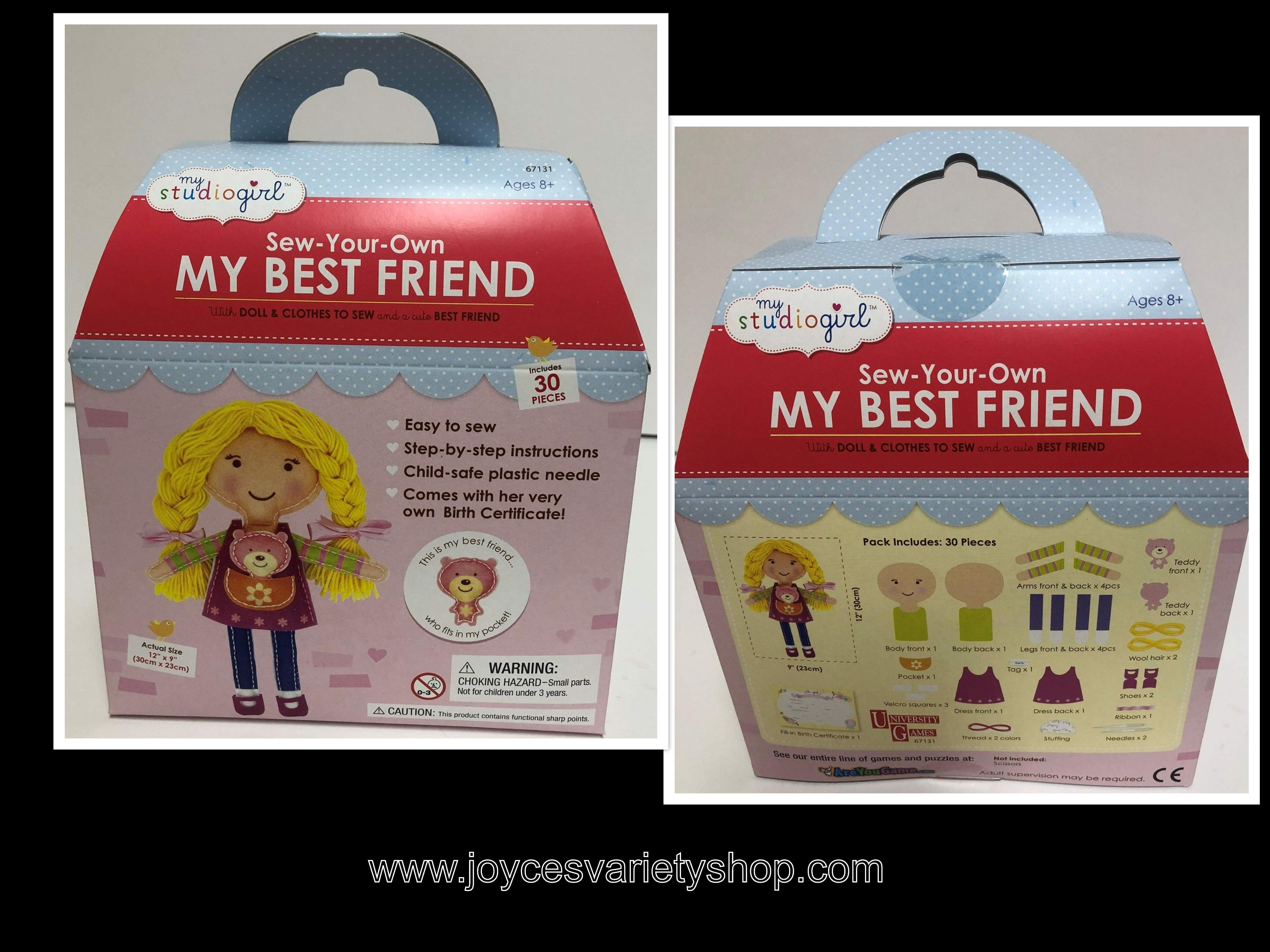 Sew Your Own Best Friend My Studio Girl Easy Sew Kit Instructions 30 Pcs.