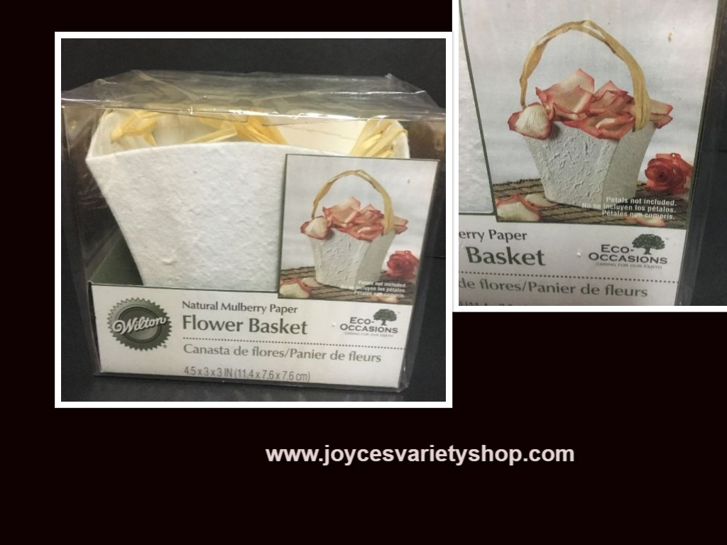 "Flower Basket White Natural Mulberry Paper 7""H Wilton"