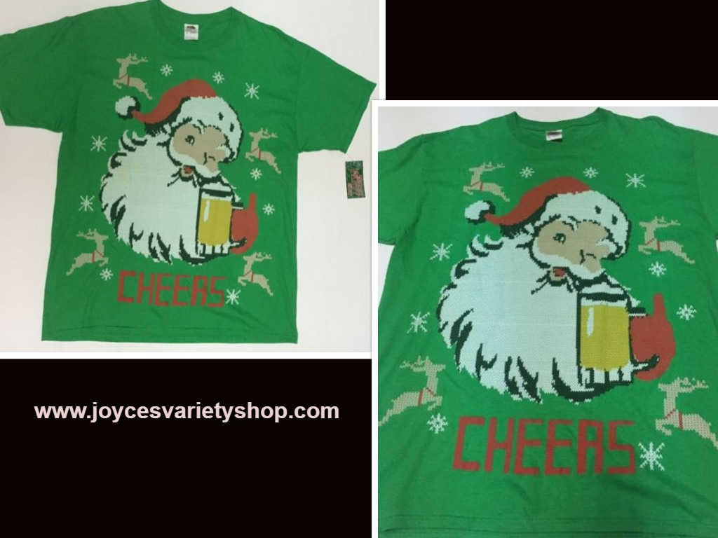 Holiday Party TShirt CHEERS Beer & Santa NWT Sz L