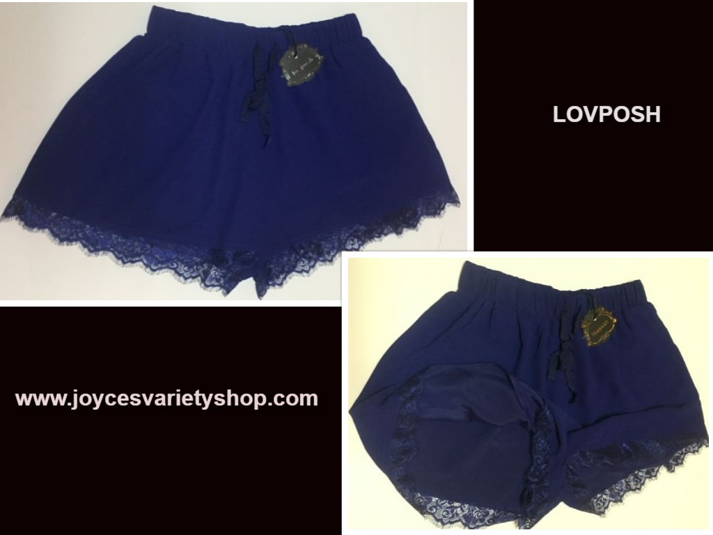 Lovposh Loungewear Casual Shorts Lace Royal Blue NWT Multiple Sizes