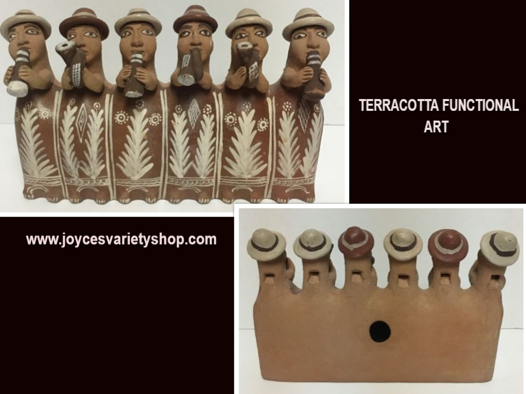 South America Terracotta Whistle Flute Ceremony Band Bolivia Earth-ware Pottery