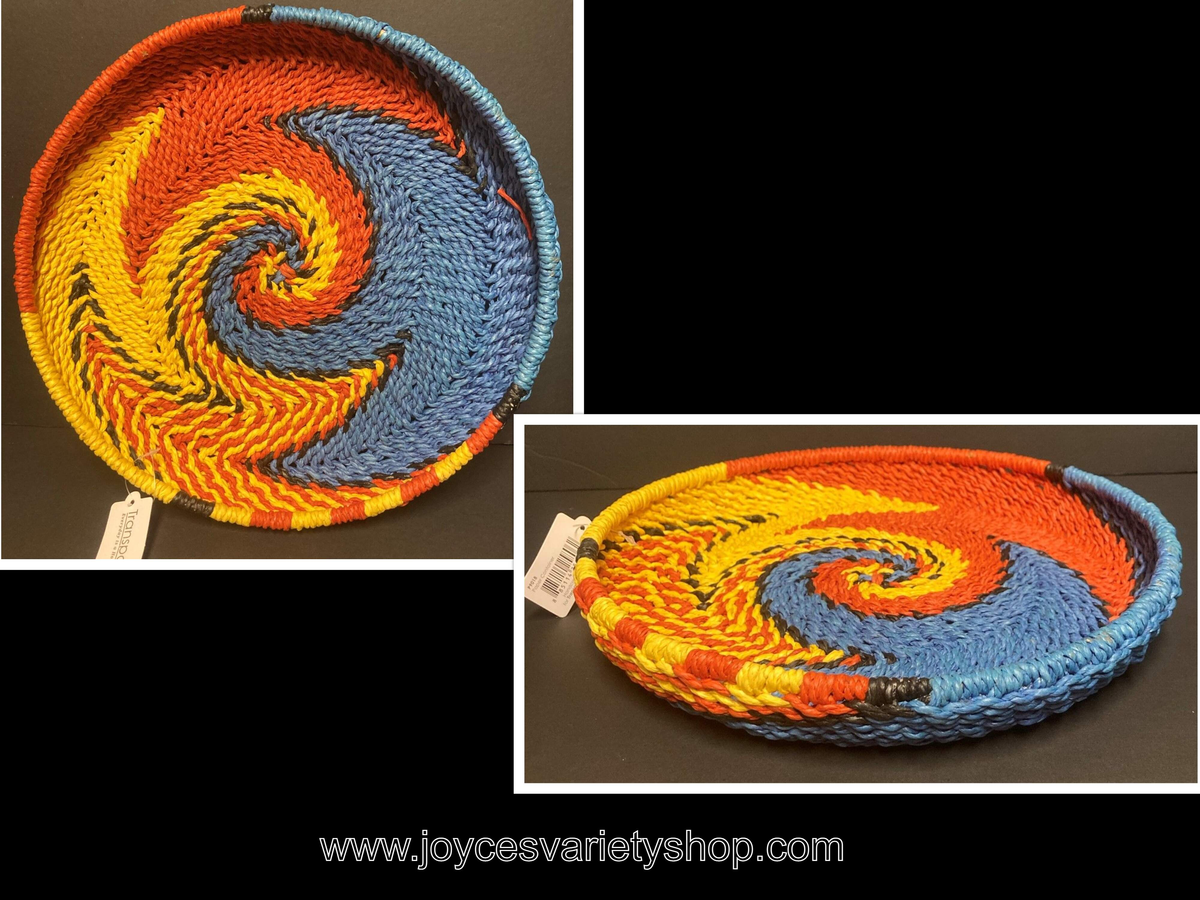 "Transpac Braided Serving Platter Colorful Weave 12"" Basket"