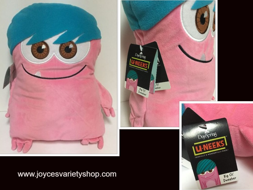 "Hallmark Dweeber (Dweebs) Plush Pillow 17"" x 13"" Pink & Blue I AM U-NEEK"