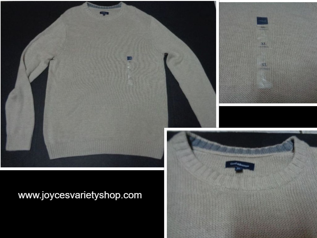 Croft & Barrow Men's Beige Sweater NWT Sz XL Crewneck