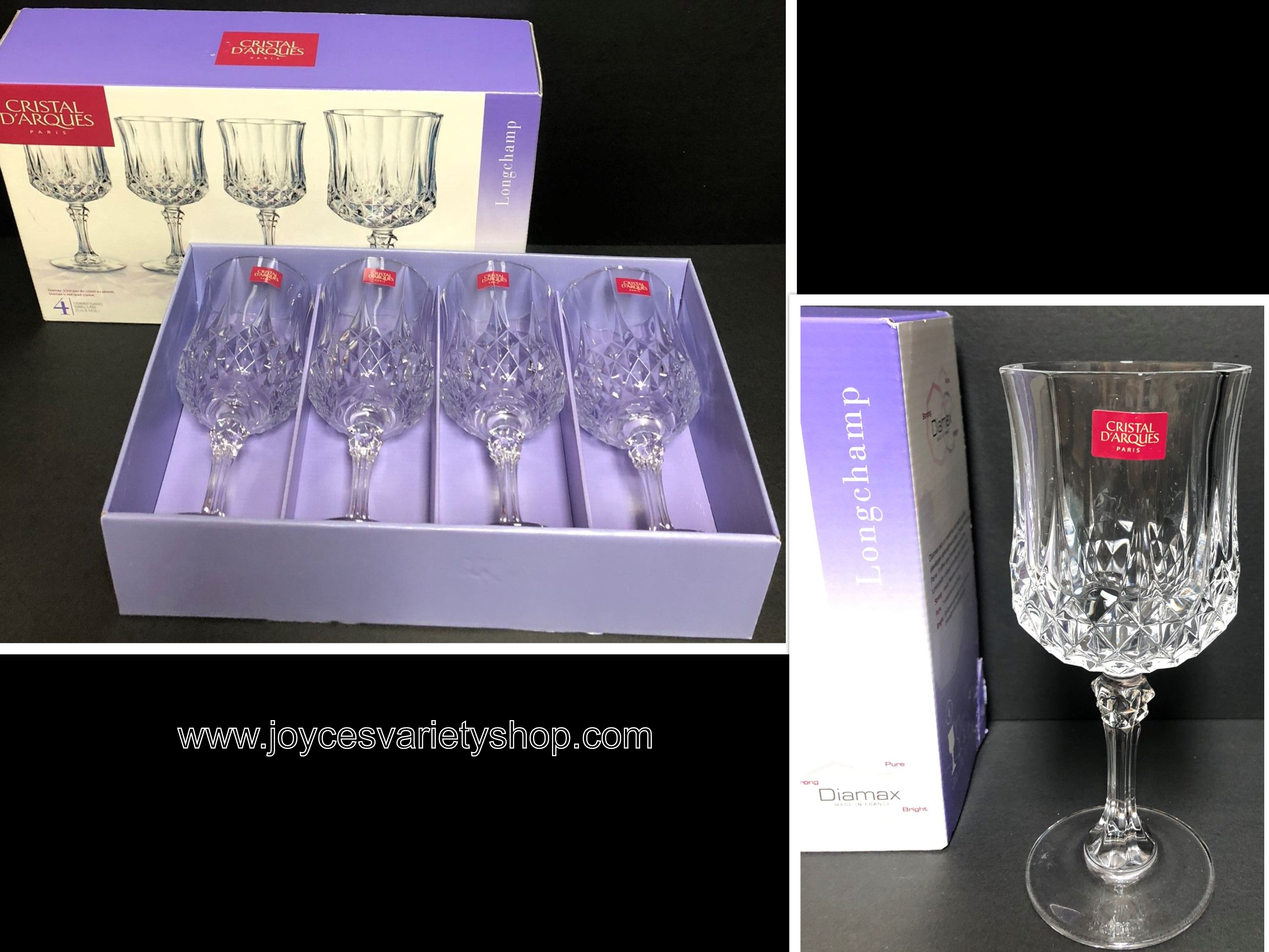 Cristal D'Arques Diamex 8 Oz Stemmed Wine Glasses Set of 4 Clear