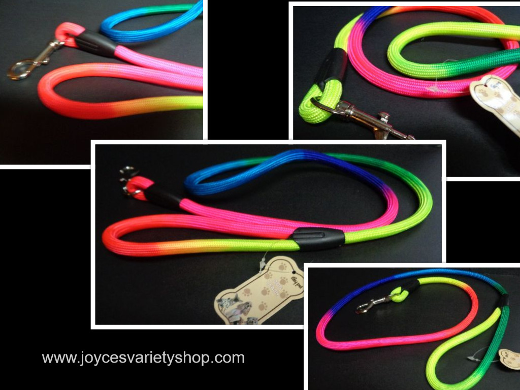 "Dog Leash Multi Neon Color 48"" NWT Free Shipping Small Medium"