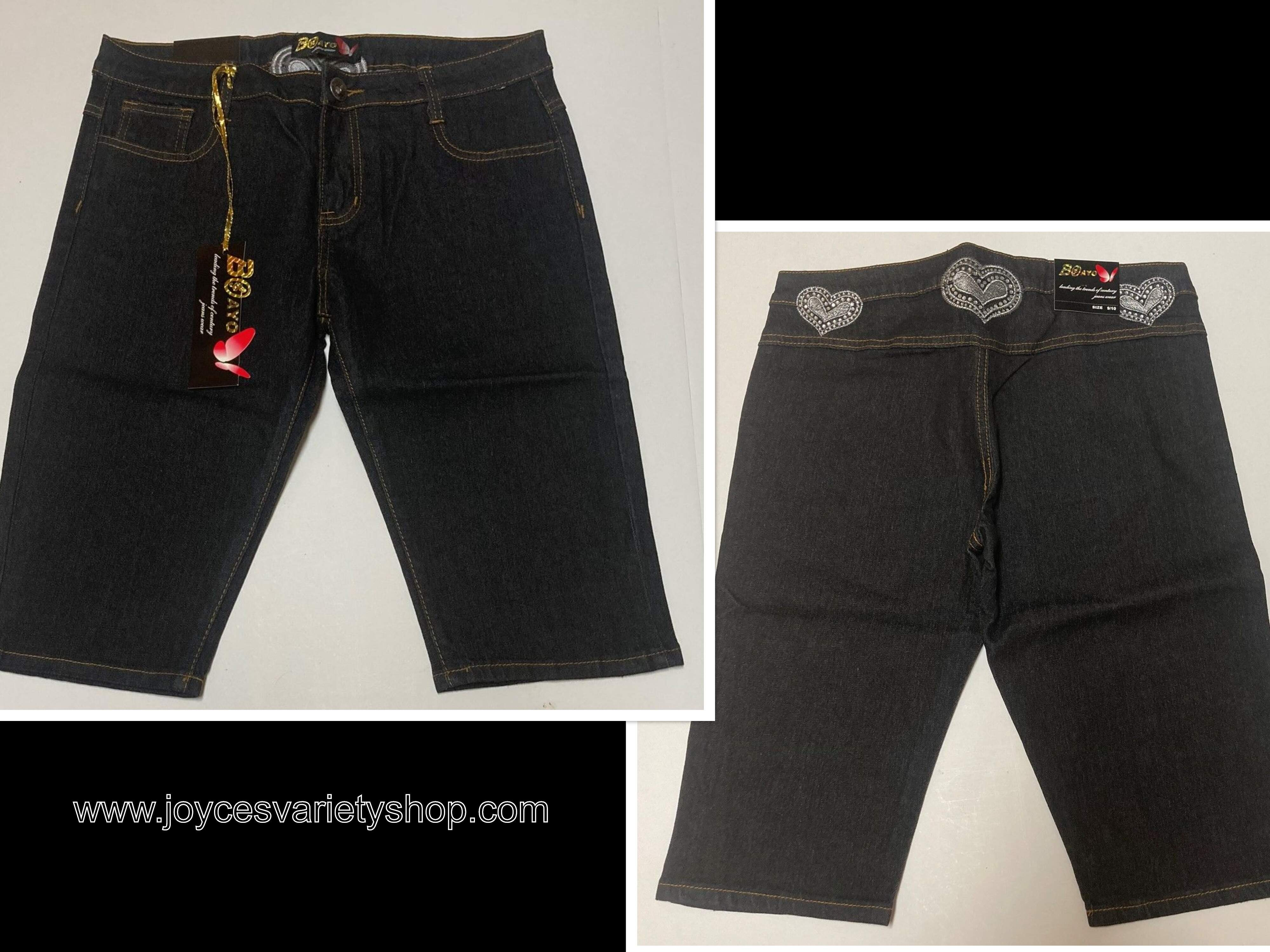 Jean Shorts Stretch Indigo Black Hearts Design Various Sz Boayo