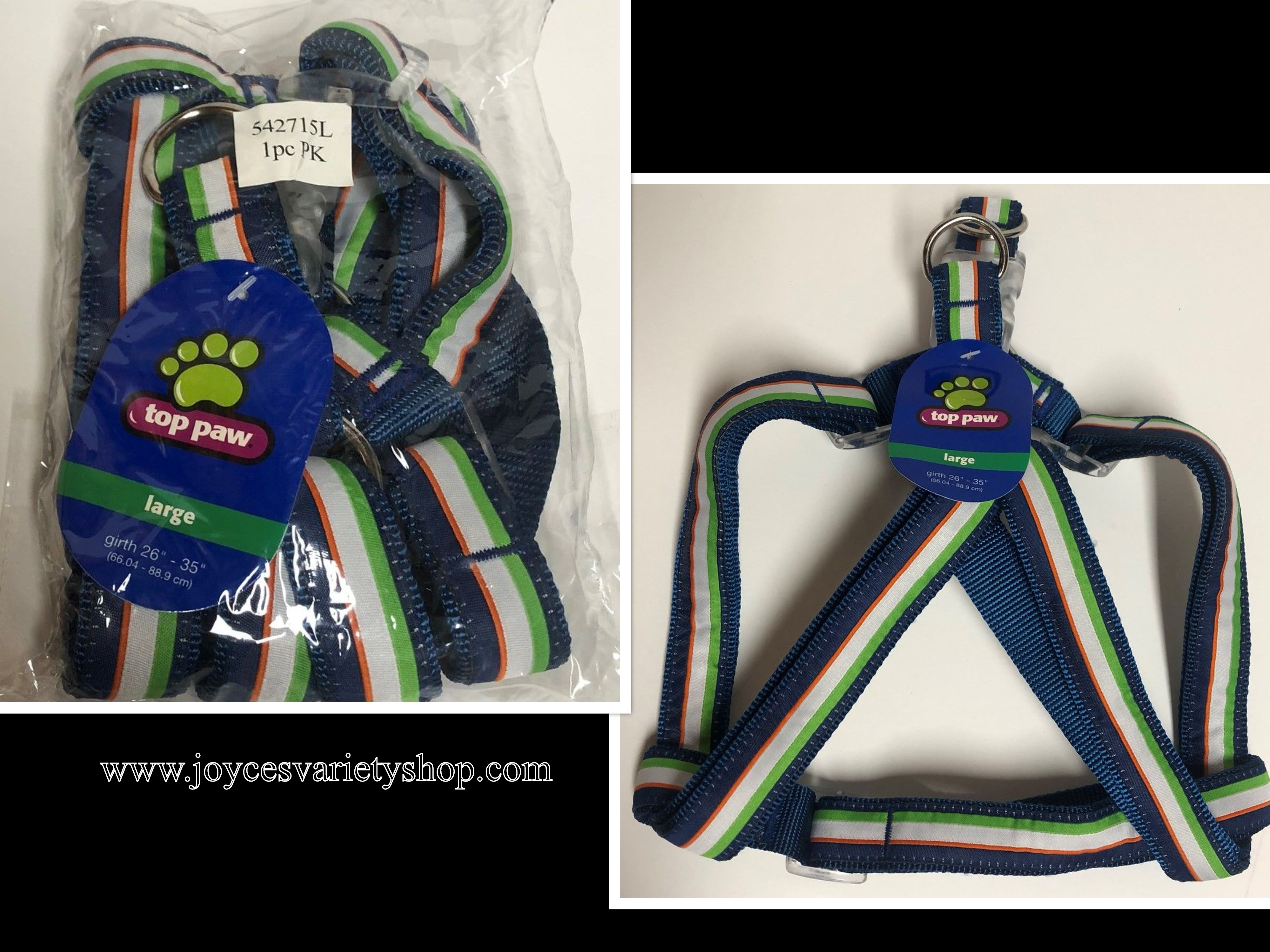 "Dog Harness Large Breed Top Paw Adjustable Multi-Color 26""-35"""